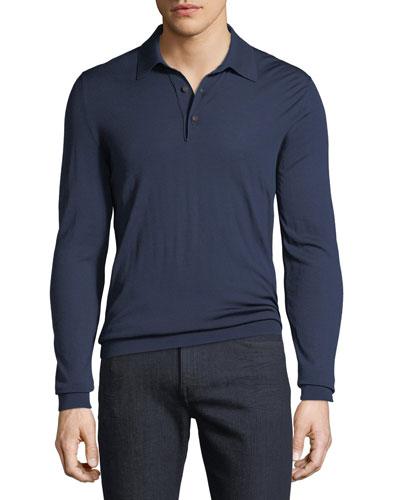 Men's Long-Sleeve Wool Polo Shirt