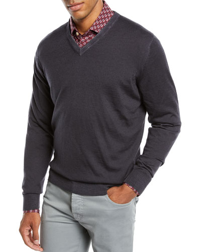 Men's Washed Cashmere V-Neck Sweater