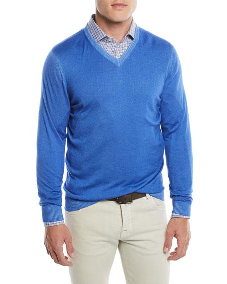 Kiton Men's Washed Cashmere V-Neck Sweater