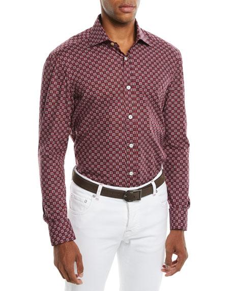 Men's Geometric-Print Cotton Sport Shirt