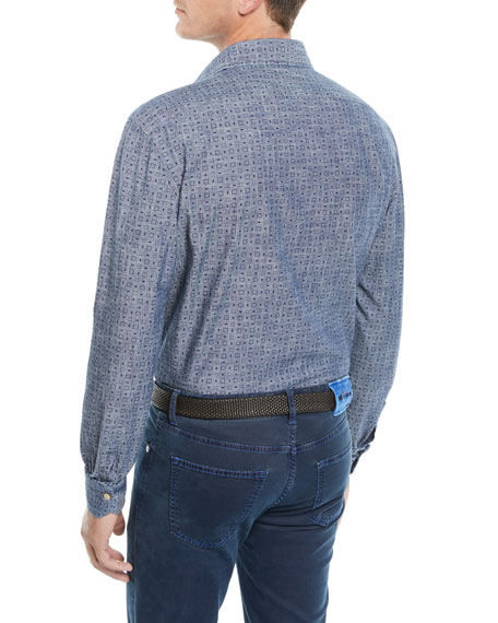 Men's Box-Print Chambray Sport Shirt