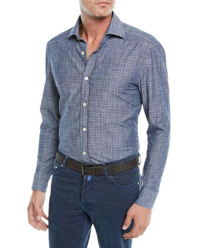 Men's Box-Print Chambray Sport Shirt