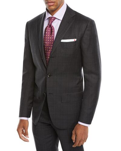 Men's Tonal Plaid Two-Piece Three-Button Suit