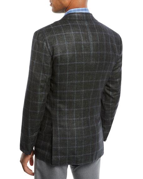 Men's Cashmere Triblend Windowpane Three-Button Sport Coat