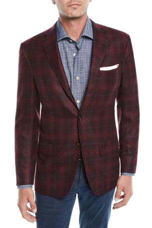 Kiton Men's Plaid Cashmere 3-Button Sport Coat Jacket