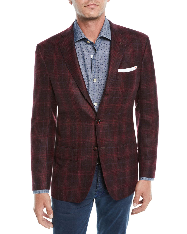 Kiton Men S Plaid Cashmere 3 Button Sport Coat Jacket Neiman Marcus