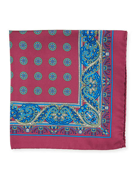 Paisley Circles Silk Pocket Square, Red