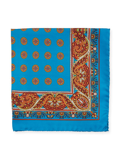Paisley Circles Silk Pocket Square, Blue