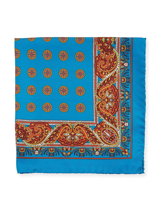 539bdbba Paisley Circles Silk Pocket Square, Blue