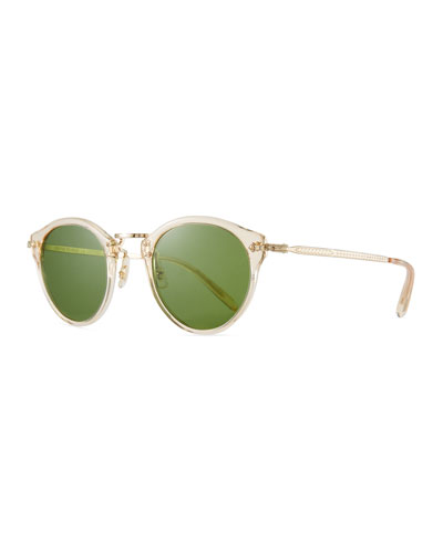 Men's Round Metal/Acetate Sunglasses