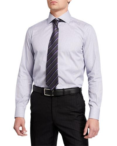 Diagonal Stripe Silk Tie, Gray/Purple