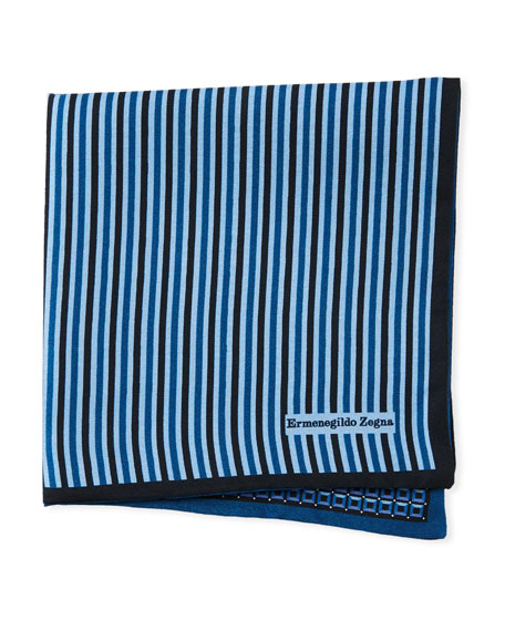 Ermenegildo Zegna Reversible 3D Box Silk Pocket Square,