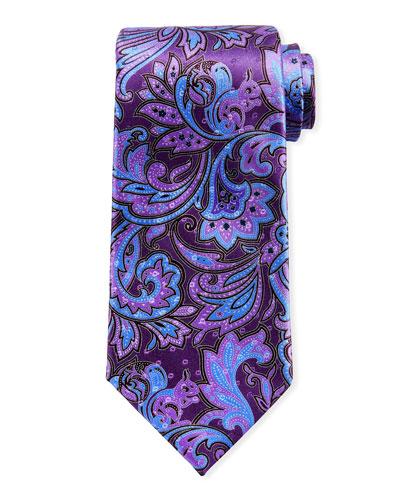 Large Paisley Silk Tie, Purple