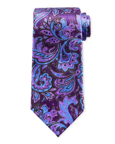 Ermenegildo Zegna Large Paisley Silk Tie, Purple
