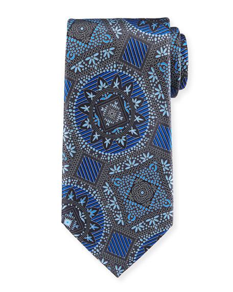 Ermenegildo Zegna Macro Medallions Print Silk Tie, Blue