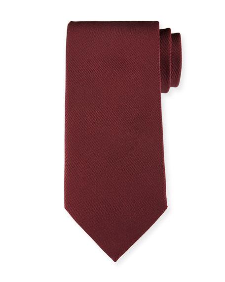 Solid Silk Tie, Burgundy