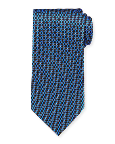 Connected Flowers Silk Tie, Blue