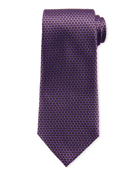 Connected Flowers Silk Tie, Purple