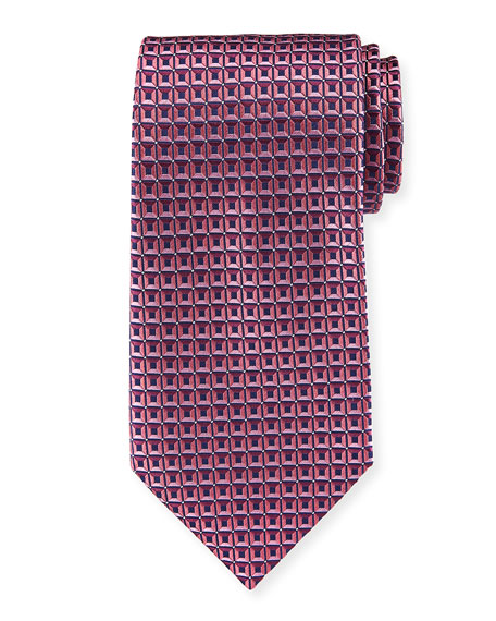 Ermenegildo Zegna 3D Box Silk Tie, Pink