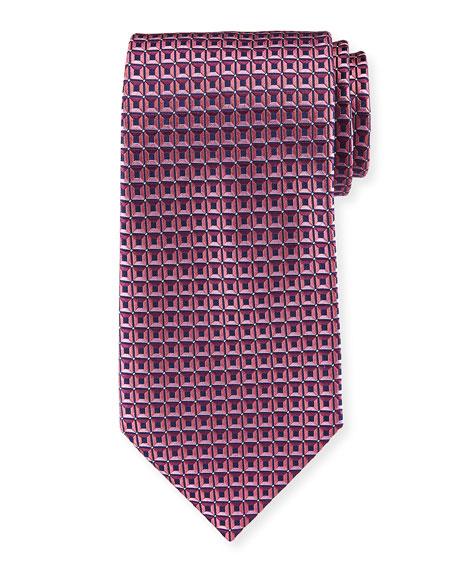 3D Box Silk Tie, Pink