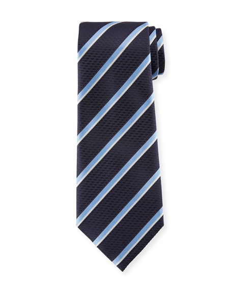 Diagonal Striped Silk Tie, Navy/Light Blue