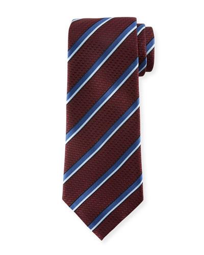 Diagonal Striped Silk Tie, Burgundy/Blue