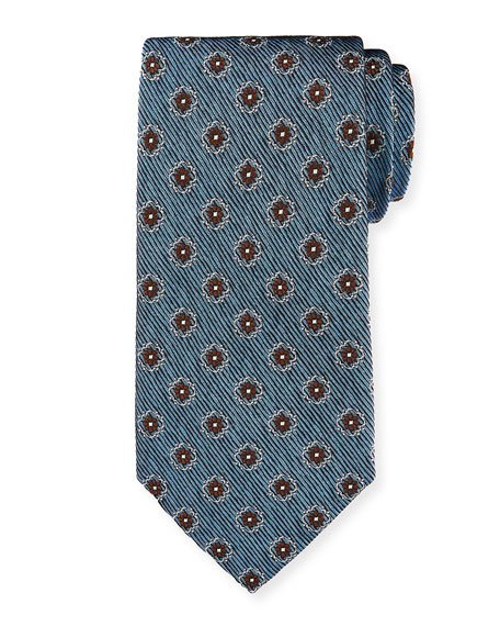 Ermenegildo Zegna Fancy Box Silk Tie, Slate Blue