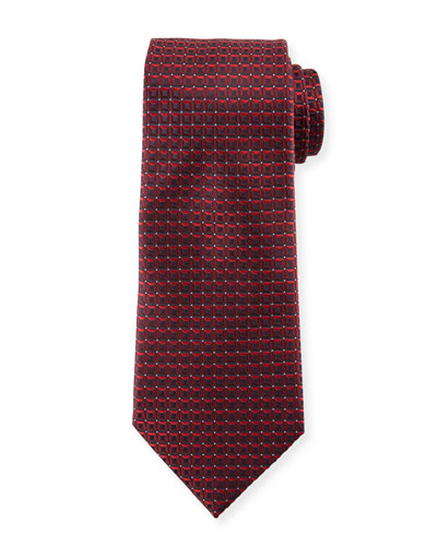 3D Box Silk Tie, Burgundy