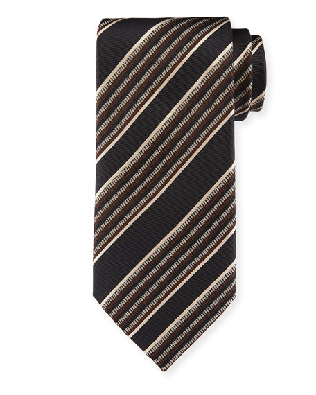Diagonal Multi-Stripe Silk Tie