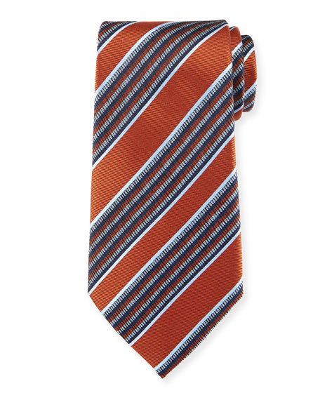 Diagonal Multi-Stripe Silk Tie, Rust Red