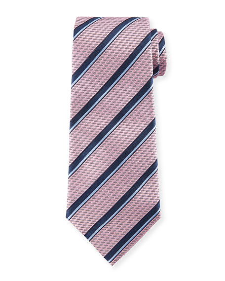 Ermenegildo Zegna Diagonal Striped Silk Tie, Pink/Blue