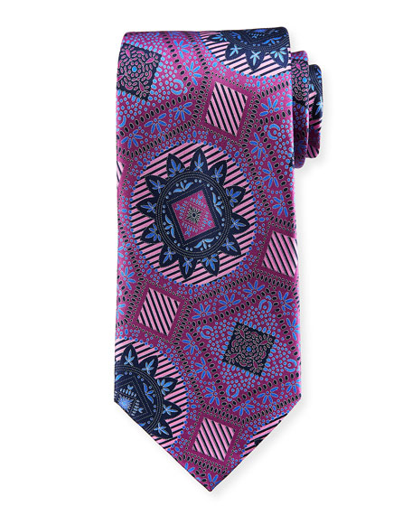 Macro Medallions Print Silk Tie, Purple