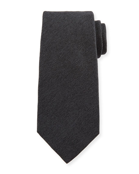 Textured Solid Silk Tie, Gray