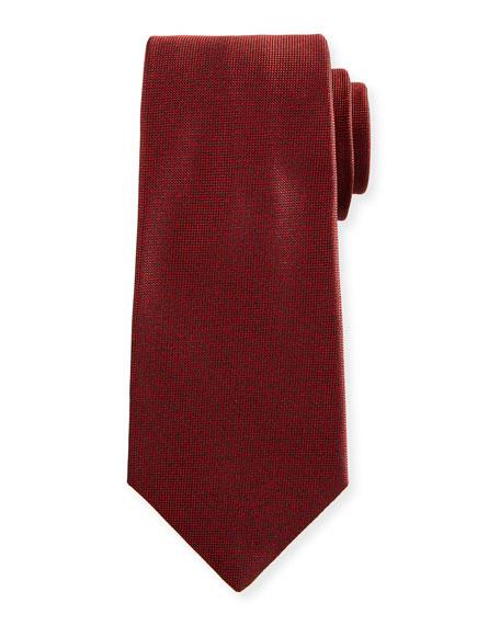 Textured Solid Silk Tie, Red