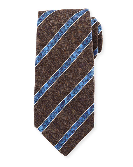 Textured Medium Stripe Silk Tie, Brown