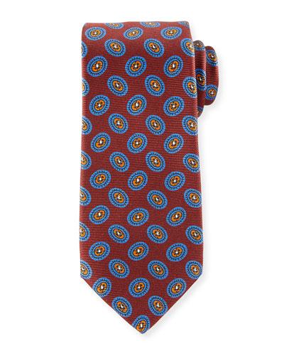 Fancy Ovals Silk Tie, Red