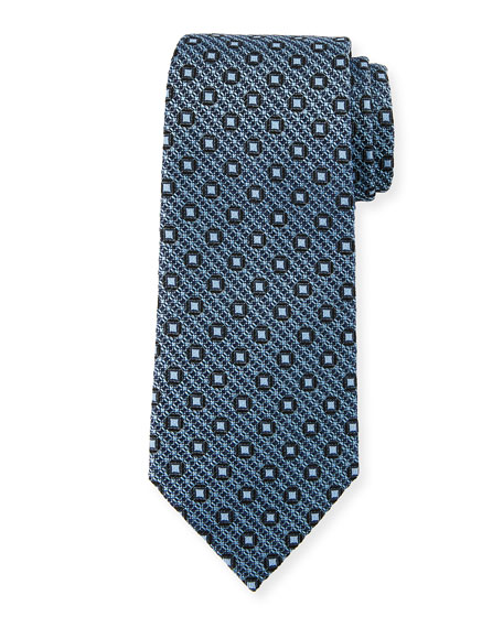 Ermenegildo Zegna Box-on-Jacquard Silk Tie, Blue
