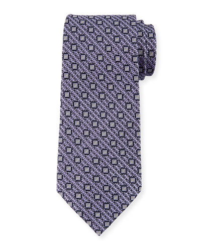 Box-on-Jacquard Silk Tie, Purple