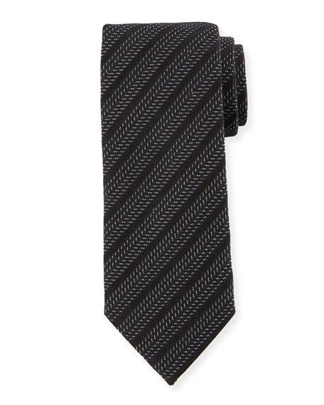 Ermenegildo Zegna Chevron Stripe Silk Tie