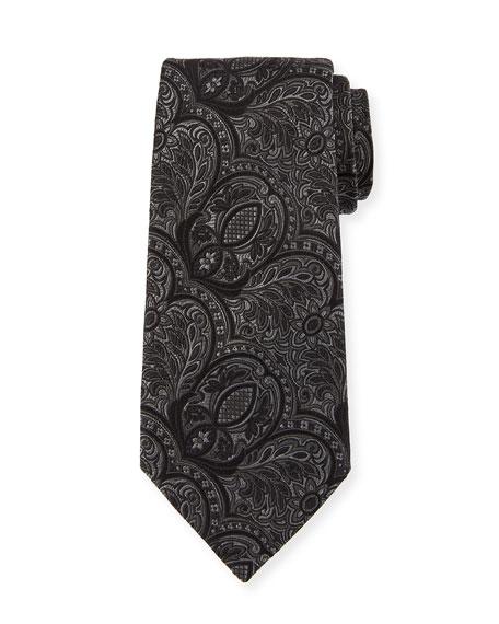 Ermenegildo Zegna Tonal Paisley Silk Tie, Black