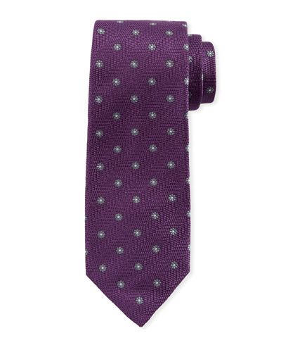 Woven Floral Silk Tie