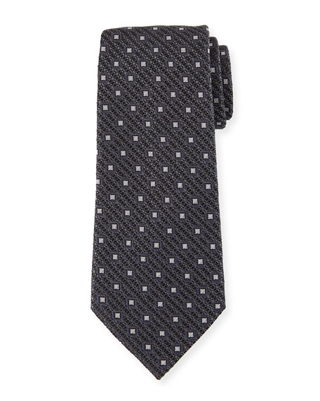 Ermenegildo Zegna Box-On-Jacquard Silk Tie, Gray