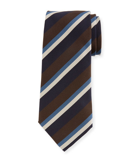 Ermenegildo Zegna Four-Color Stripe Silk Tie, Brown
