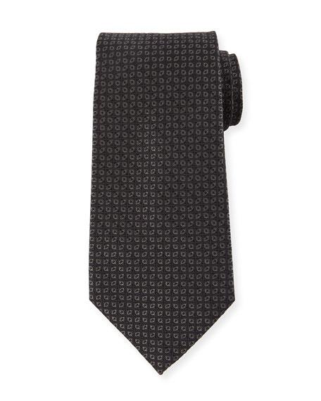 Ermenegildo Zegna Tonal Ovals Silk Tie, Black