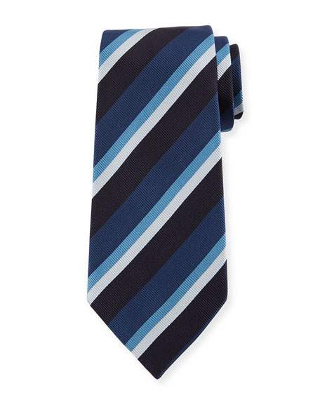 Ermenegildo Zegna Four-Color Stripe Silk Tie, Blue