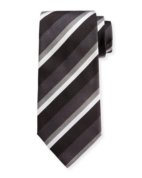 Ermenegildo Zegna Four-Color Stripe Silk Tie, Black