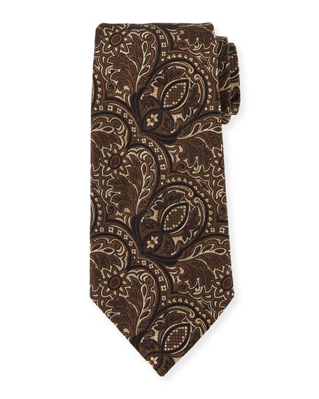 Ermenegildo Zegna Tonal Paisley Silk Tie, Brown