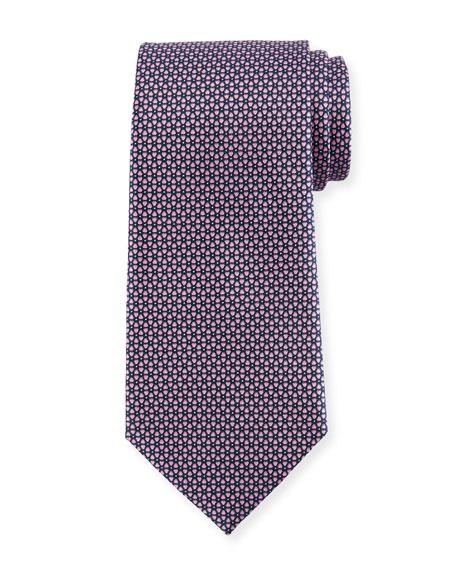 Ermenegildo Zegna Connected Flower Silk Tie, Pink