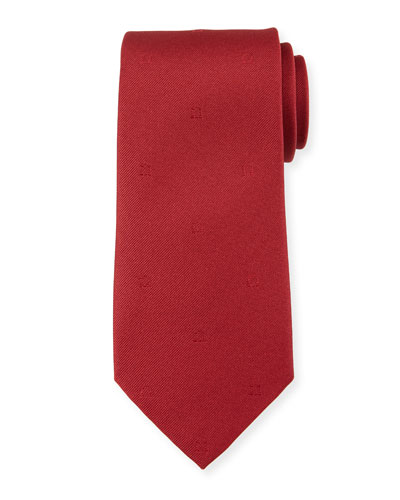 Eston Solid Silk Tie  Red