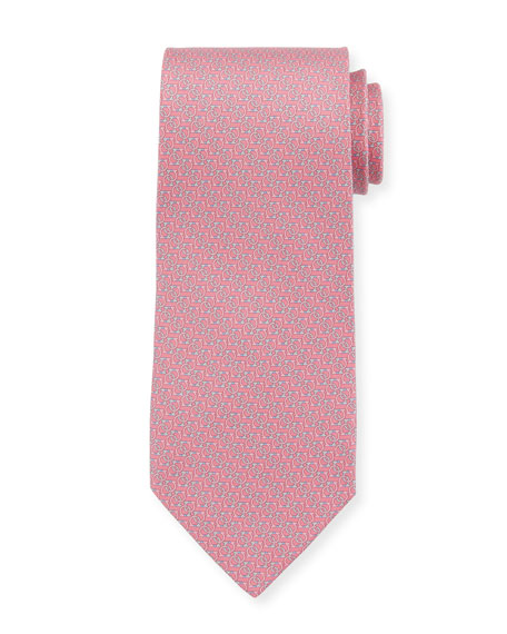 Forte Interlocking Gancini Silk Tie, Pink